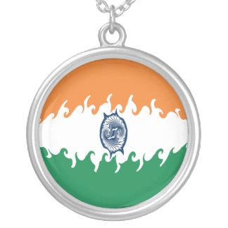 India Gnarly Flag Round Pendant Necklace