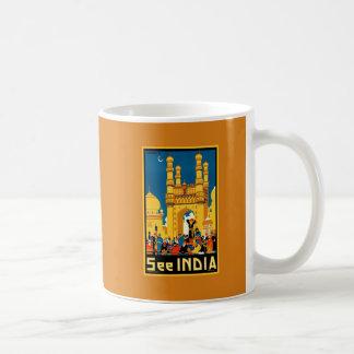 India Hyderabad Vintage travel, gold and blue Coffee Mug