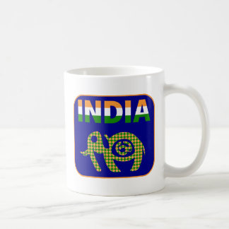 India, painted elephant coffee mug