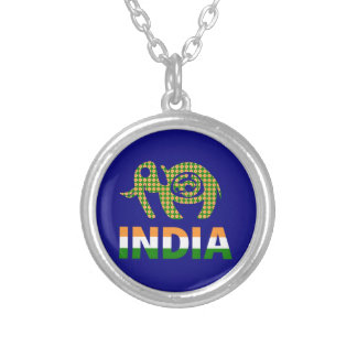 India, painted elephant silver plated necklace