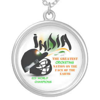 India The Greatest Cricket Nation On Earth Necklac Silver Plated Necklace