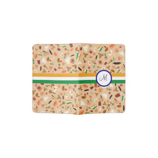 Indian cultural items with flag and monogram passport holder