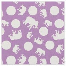 Indian Elephants and Polka Dots Purple Fabric