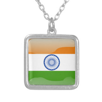 Indian glossy flag silver plated necklace