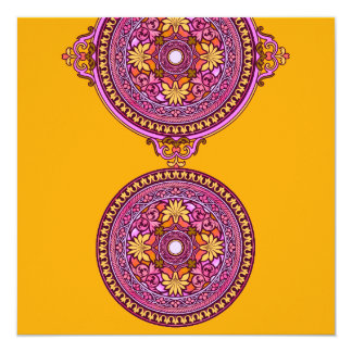 Indian Gold & Pink Discs Wedding Invitation