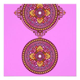 Indian Gold Pink Discs Wedding Invitation