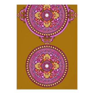 Indian Gold & Pink Discs Wedding Invitation