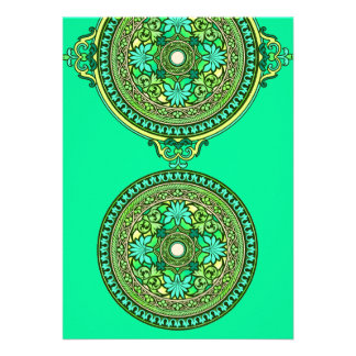 Indian Green Aqua Discs Wedding Invitation