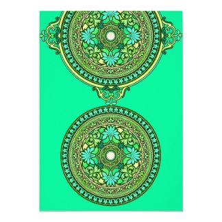 Indian Green & Aqua Discs Wedding Invitation
