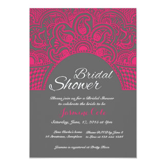 Indian Henna style pink bridal shower invitaitons 13 Cm X 18 Cm Invitation Card
