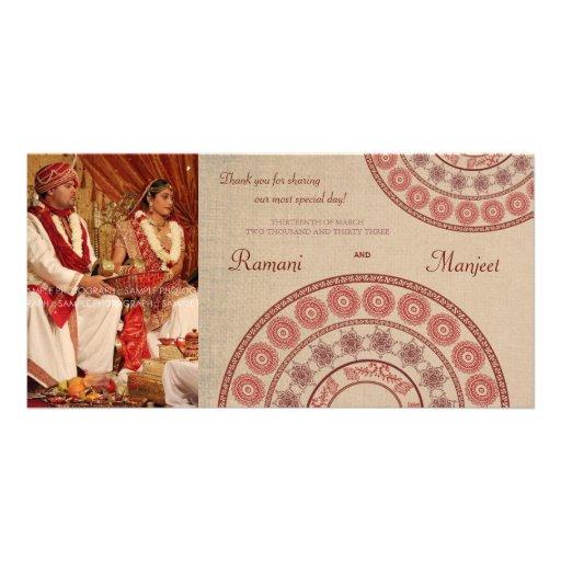 Indian Henna Wedding Thank You Photo Card