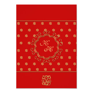 Indian Influenced Wedding Reception in Red & Gold 11 Cm X 16 Cm Invitation Card