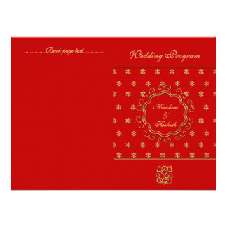 Indian Inspired Bi-fold Wedding Program Red Gold Announcements