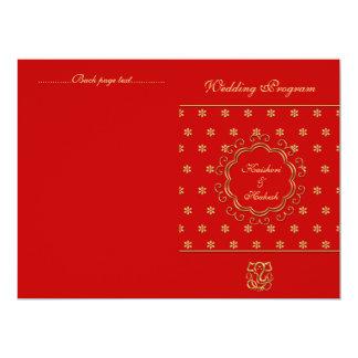 "Indian Inspired Bi-fold Wedding Program Red & Gold 6.5"" X 8.75"" Invitation Card"