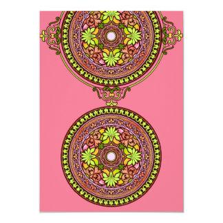 Indian Pink Discs Wedding Invitation