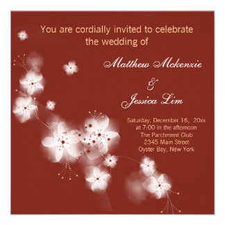 Indian Red Cherry Blossom Wedding Personalized Invitation