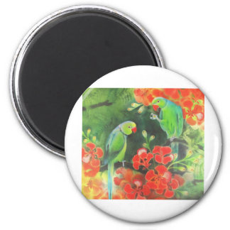 indian ring necks on a flamboyant tree 6 cm round magnet