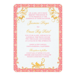 "Indian Rococo Floral Pink Gold Wedding Invitation 5"" X 7"" Invitation Card"