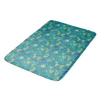 Indian style, boho chic, blue pattern bath mat