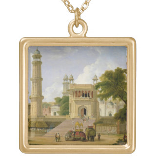 Indian Temple, said to be the Mosque of Abo-ul-Nab Gold Plated Necklace