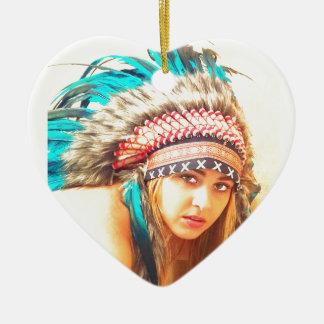 Indian warrior ceramic heart decoration
