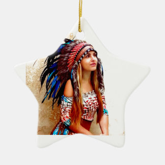 Indian warrior christmas ornament