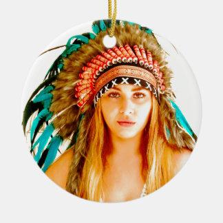 Indian warrior round ceramic decoration