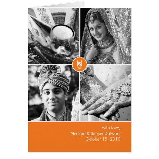 Indian Wedding 4 Photo Thank You Card