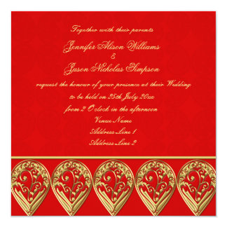 Indian Wedding Invitation Red & Gold Paisley