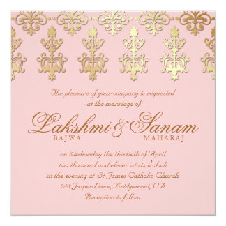 """Indian Wedding Invite Damask Gold Baby Pink 5.25"""" Square Invitation Card"""