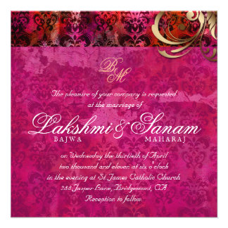 Indian Wedding Invite Damask Gold Pink Red