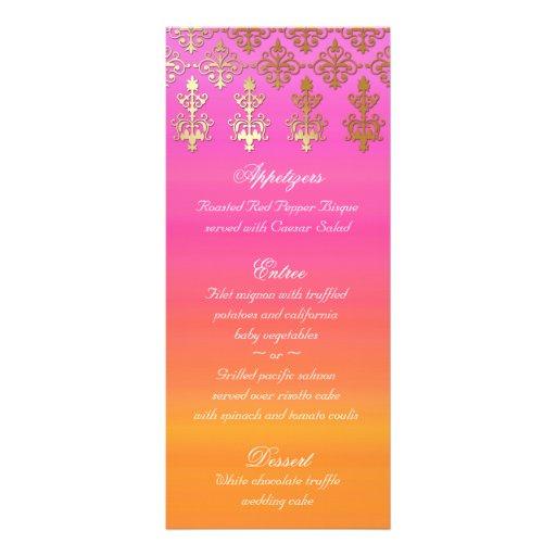 Indian Wedding Menu Cards Pink Orange Gold Damask Customised Rack Card