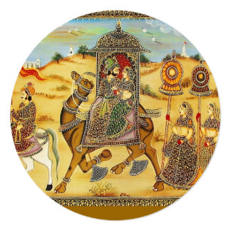 """Indian wedding procession on camels 5.25"""" square invitation card"""