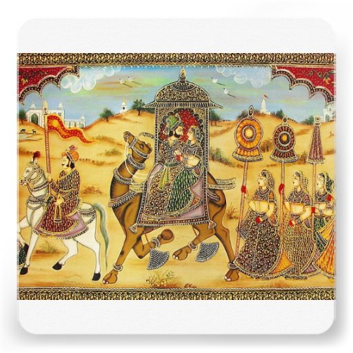 Indian wedding procession on camels invitations