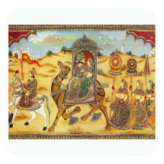 Indian wedding procession on camels 13 cm x 13 cm square invitation card