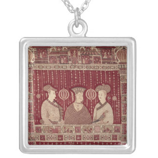 Indian woman with European traders, Madras Silver Plated Necklace