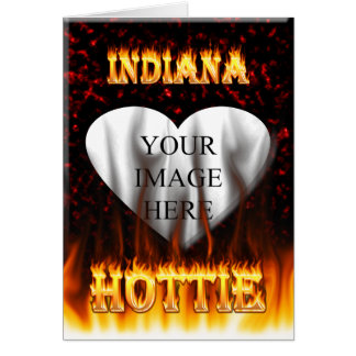 Indiana Hottie fire and red marble heart. Card