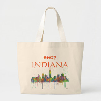INDIANA, INDIANAPOLIS SKYLINE LARGE TOTE BAG