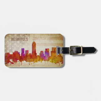 Indianapolis, IN | Watercolor City Skyline Luggage Tag