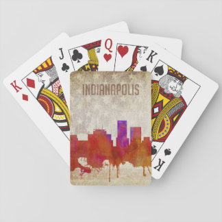 Indianapolis, IN | Watercolor City Skyline Playing Cards