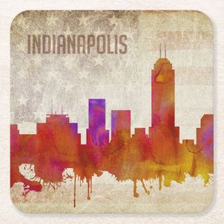 Indianapolis, IN | Watercolor City Skyline Square Paper Coaster