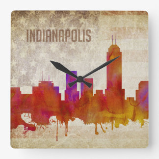 Indianapolis, IN | Watercolor City Skyline Square Wall Clock