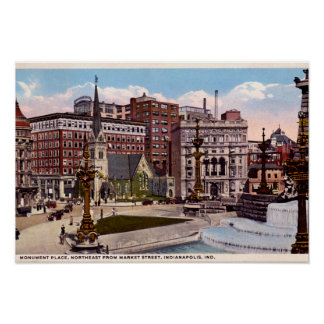 Indianapolis, Indiana Monument Circle Northeast Poster
