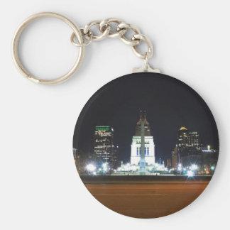 Indianapolis Skyline at Night Key Ring
