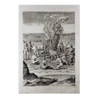 Indians praying around a fire, engraving poster