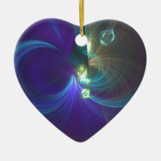 Indigo and green Fulgurance Ceramic Heart Decoration