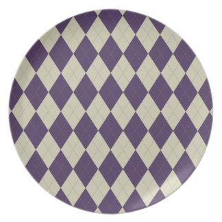 Indigo and Ivory Argyle Plate