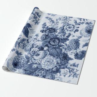 Indigo Blue Black White Vintage Floral Toile No.3 Wrapping Paper