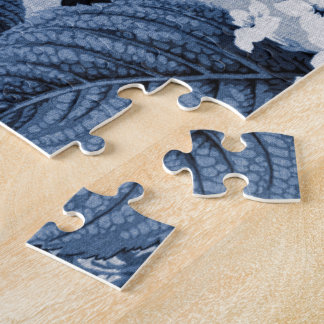 Indigo Blue Floral Toile No.1 Jigsaw Puzzle