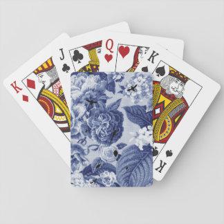 Indigo Blue Vintage Botanical Floral Toile & Bees Poker Deck